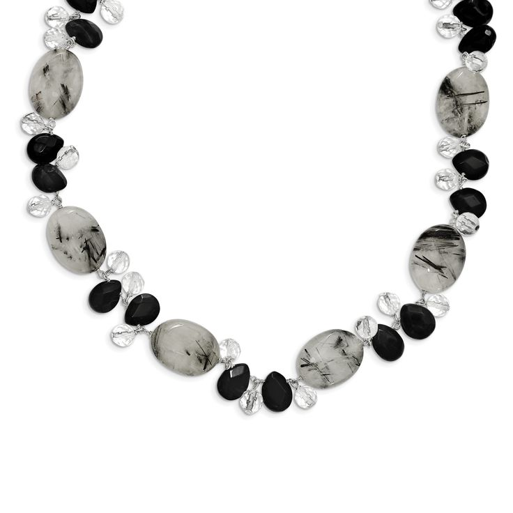 Sterling Silver Tourmalinated Quartz/Black Agate/Clear Quartz Necklace QH2530-16