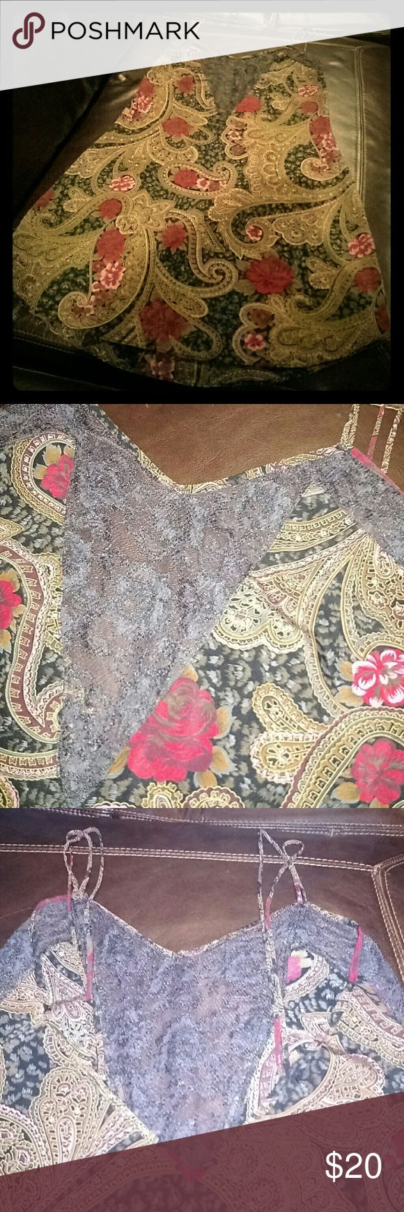Vintage Victoria's Secret Nightie Brown and red floral nightie. A adorable brown lace front with sexy low back. Double straps. Petite small. Great condition. Victoria's Secret Intimates & Sleepwear