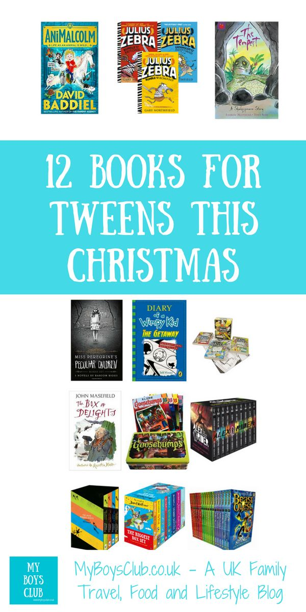 Twelve books for tweens this Christmas as suggested by tweens mums! Includig books by David Baddiel, Gary Northfield, William Shakespeare, David Walliams, James Dashner, Liz Pinchon, Jeff Kinney, Ransom Riggs, Anthony Horowitz,  RL Stine and John Masefield.