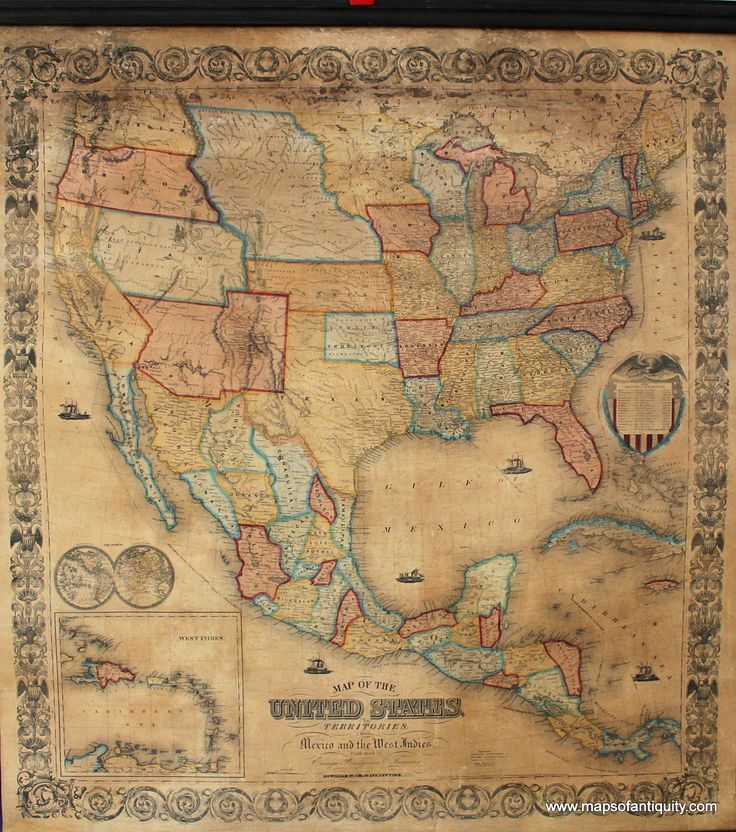 Map Of Us States In 1860%0A Antique Wall MapoftheUnitedStatesTerritoriesMexico