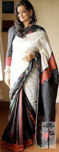 White and black cotton saree by Mora