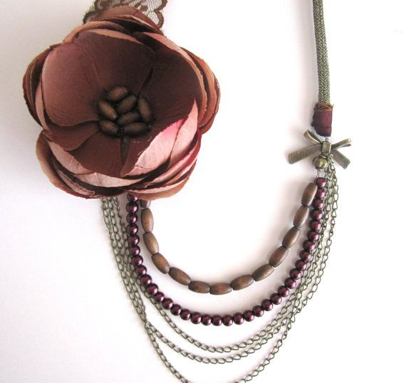Flower Necklace Multi Strands Necklace Bohemian by catyflowerpower