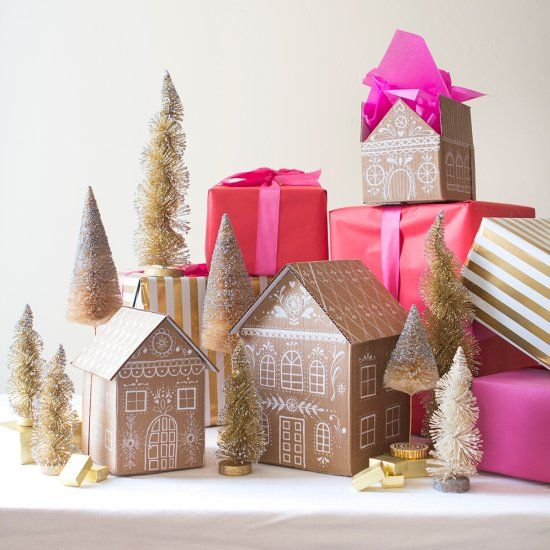 Make a memorable gift with even cuter gift wrap. Learn how to make these gingerbread house gift boxes, perfect for the holidays!: