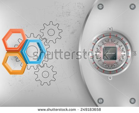 Abstract technology background; Tree dimensions hexagons on scratched metallic background and chip connected at circular metallic device nailed with screws to steel board