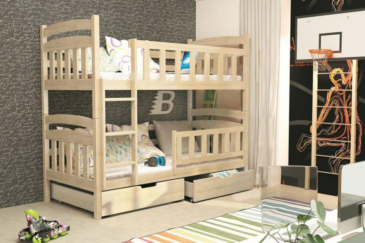 Łóżko dziecięce MARCIN PIĘTROWE 185/80 SOSNA