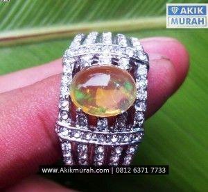 Cincin Batu Opal Kalimaya Kristal Kilau Bensi