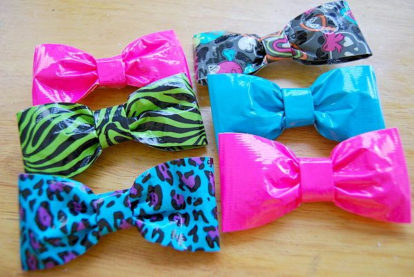 Duct tape hair bows.  Perfect to give out a girl's birthday parties!