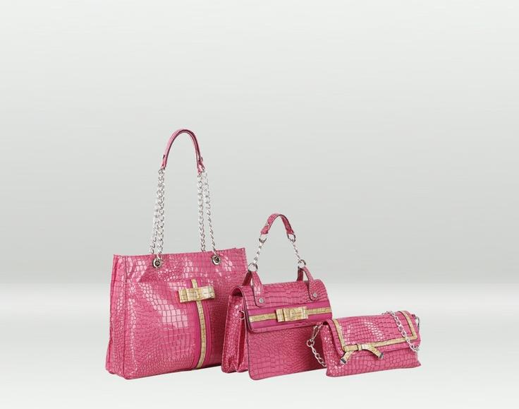 Giglio, borsa rosa effetto cocco con catena