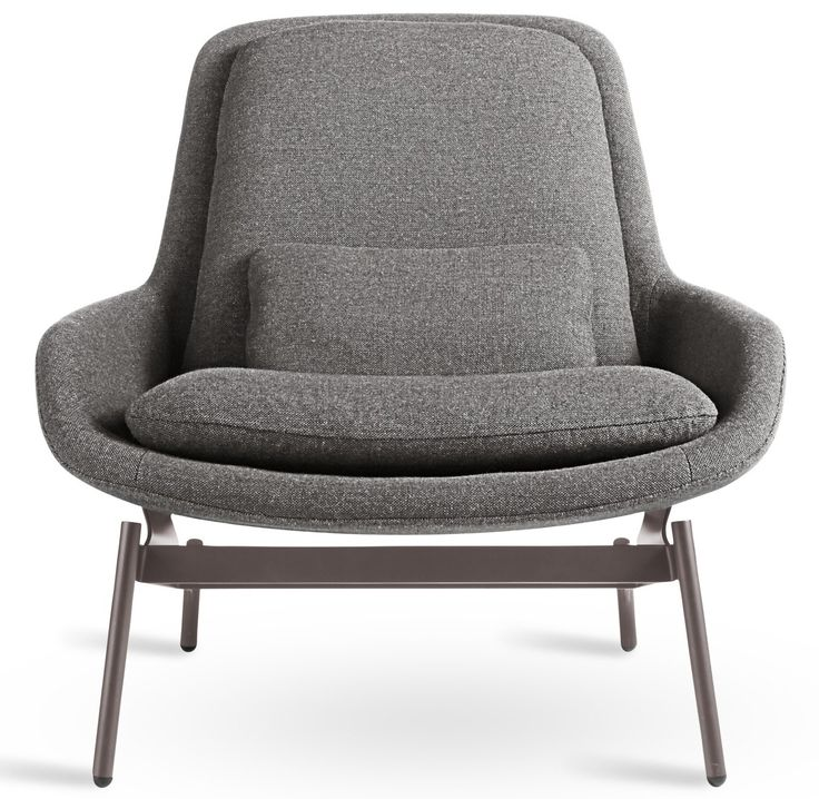 """Call dibs. Shapely curves, a gentle recline and """"just-right"""" cushions invite the lost art of unwinding. A sculptural powder-coated steel base sets up the striking profile. Field Ottoman also available"""