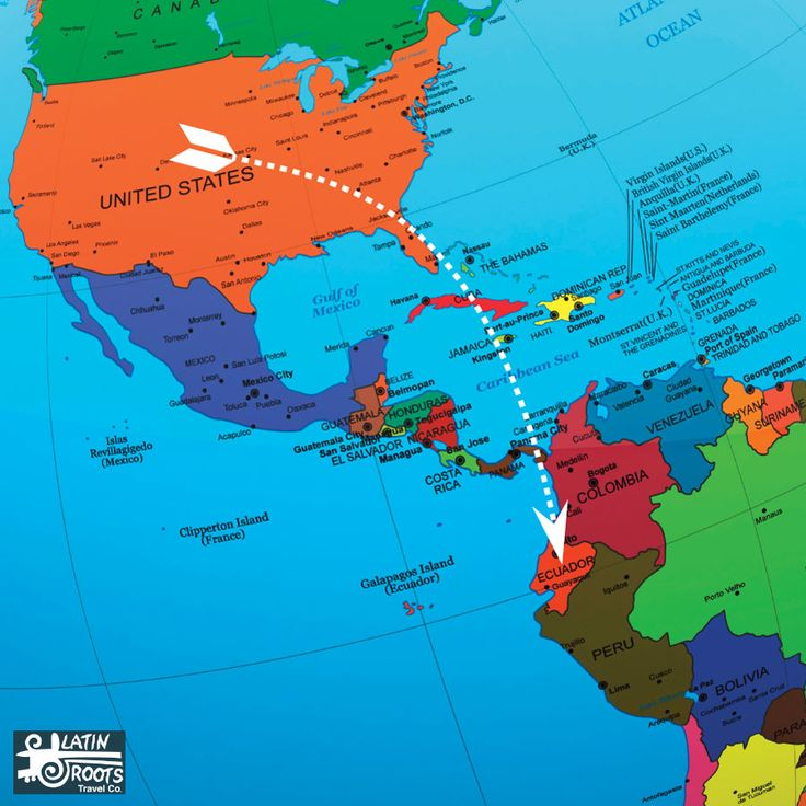 How far is Ecuador from the United States? There are two ways to measure this distance: straight line and driving / road distance.  To get started, lets consider the the distance as the crow flies.   How Far is Ecuador from the United States? 10 US Cities Compared: MI / KM | Latin Roots Travel (Ecuador)