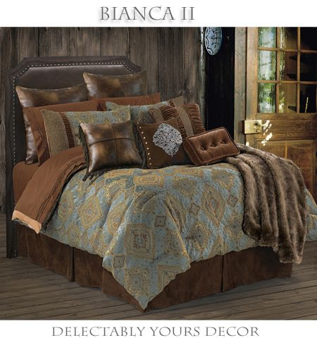 Bianca Il  Southwestern bed in a bag comforter set features a elegant blue brown and gold comforter set against a rich chocolate brown micro suede bedskirt. Two tone pieced shams, velvet accents and hand stitched cross design fringed faux leather pillow and dark faux leather euro shams completing the true elegance of a southwestern decor. Matching accessories available.