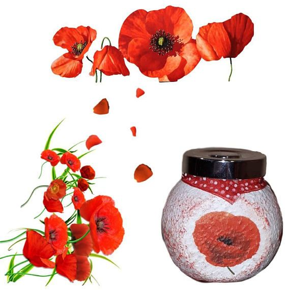 Check out this item in my Etsy shop https://www.etsy.com/listing/545787627/red-poppy-kitchen-decor-canister