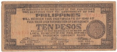 This note was printed on hidden presses by the guerrilla resistance fighters at the risk of their very lives. The Japanese Military authorities issued orders that anyone caught in possession of guerrilla money was to be shot. Thus the battle was not only military, but also economic . This piece of Guerrilla is a stirring example of how a nation's money reflects its history.  A nice piece of vintage world war two history.