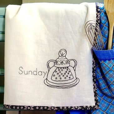 free embroidery patterns: Embroidery Pattern, Kitchens Towels, Teas Towels, Kitchens Dishtowel, Towels Embroidery, Design Freebies, Sunday Teas, Dishes Towels, Pleasant Kitchens