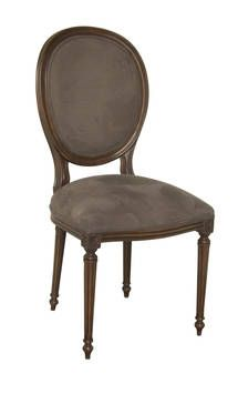 French provincial Louis XVI oval chair with dark suede upholstery the colour of chocolate - has a masculine look yet is still warm and inviting - French provincial style in Sydney, Australia
