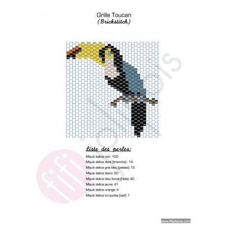 La grille de tissage en brickstitch du toucan avec des perles miyukis