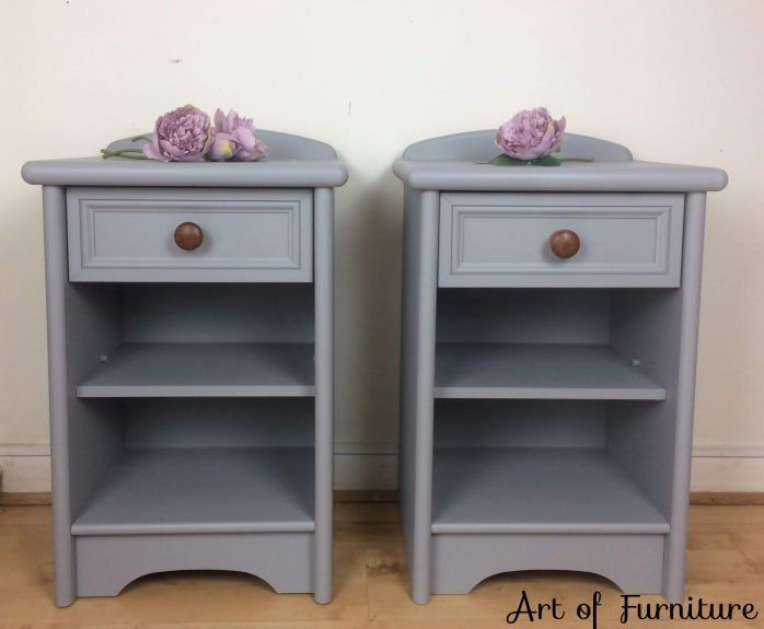 A Pair Of Vintage Bedside Table Cabinet Side Table Bedside Unit Hand Painted Grey Fusion Mineral Paint Nightstands Upcycled Vintage Bedside Vintage Bedside Table Painted Bedside Tables
