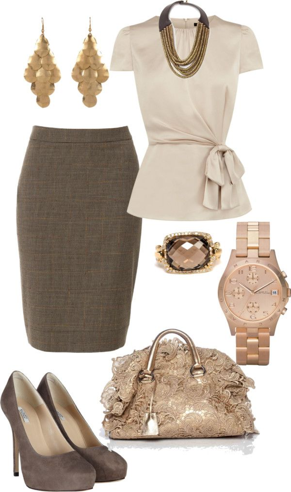 Nice classy work outfit... taupe or tan shirt with tie around bow... pencil skirt (brown or dark hunter green) pumps gold accessories watch ring and handbag: