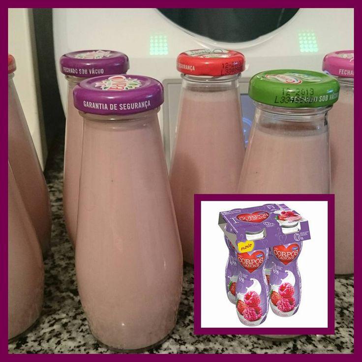 Iogurtes líquidos magros de Morango/framboesa.     Finalmente parece que consegui uns iogurtes magros.           Rendeu 7 frascos   1200gr ...