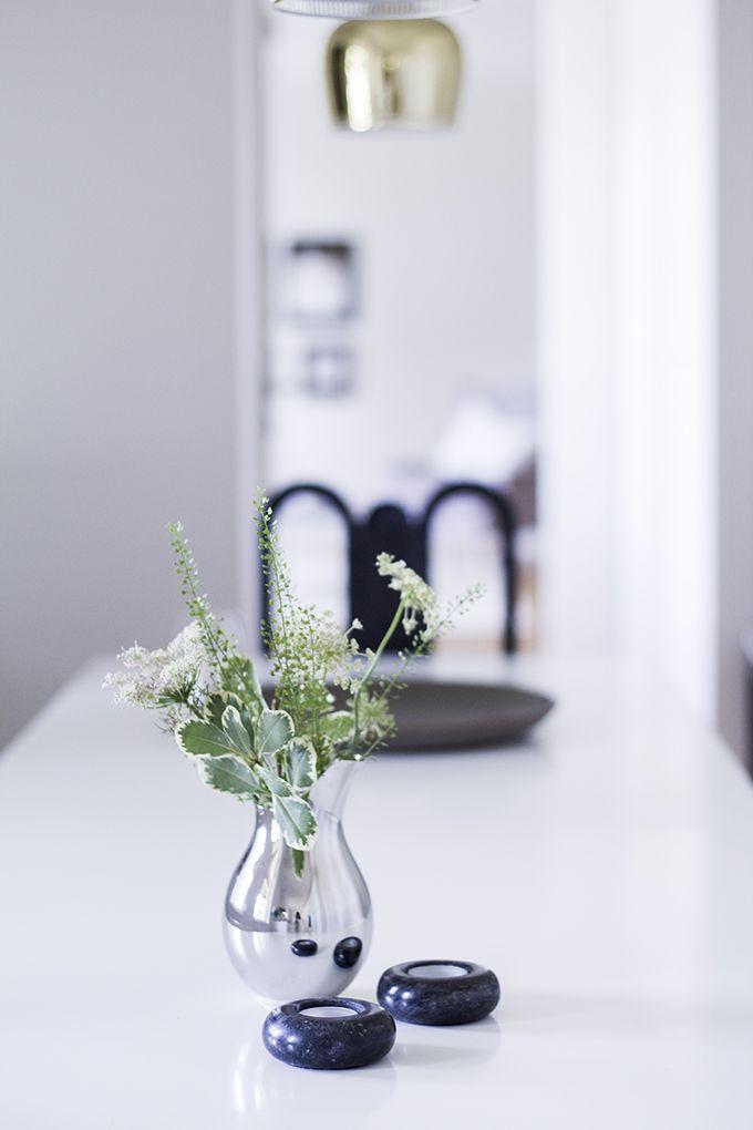 Mama vase by Ilse Crawford for Georg Jensen, Artek Golden bell lamp via Coffee Table Diary