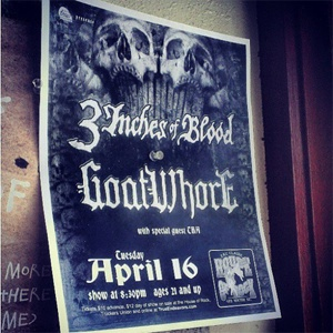 Live: Goatwhore, 3 Inches of Blood, Enabler, Accusation – House of Rock, Eau Claire, Wisconsin, USA. April 16th 2013.