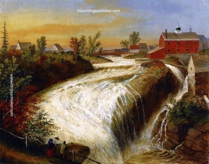 Cornelius Krieghoff Falls of Lorette, near Quebec, painting Authorized official website
