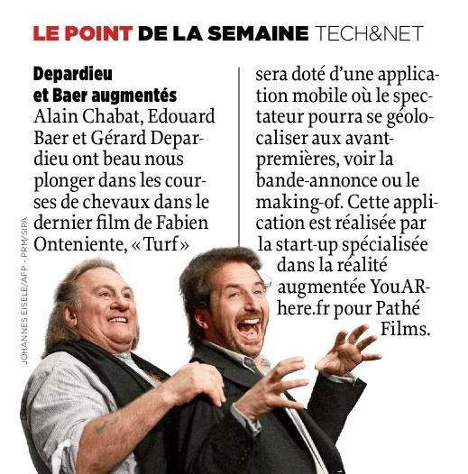 """L'application mobile du film """"Turf""""dans le magazine Le Point : """"Dépardieu et Baer augmentés"""""""