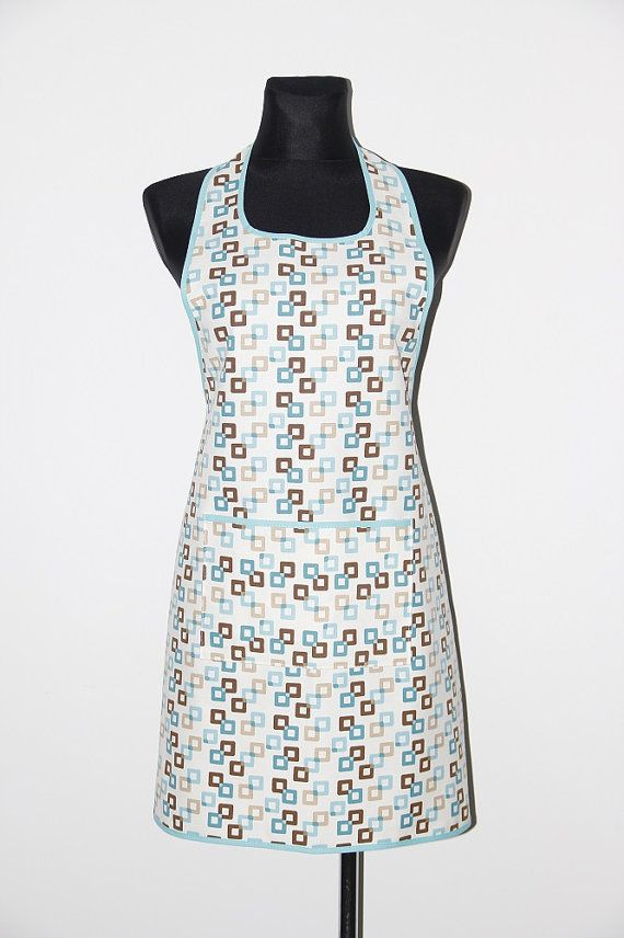 Handmade apron, kitchen apron. Beautiful turquoise and brown squares. Blue squares apron. Pinafore