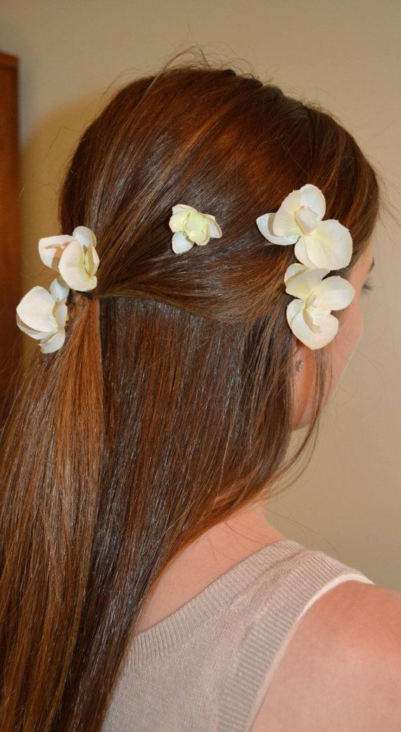 set of FOUR ivory orchid hair clips hair pins made by LovelyDawn