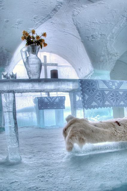 Church altar inside Sorrisniva Ice Hotel in Alta, Norway (by BestViewedOnBlack).