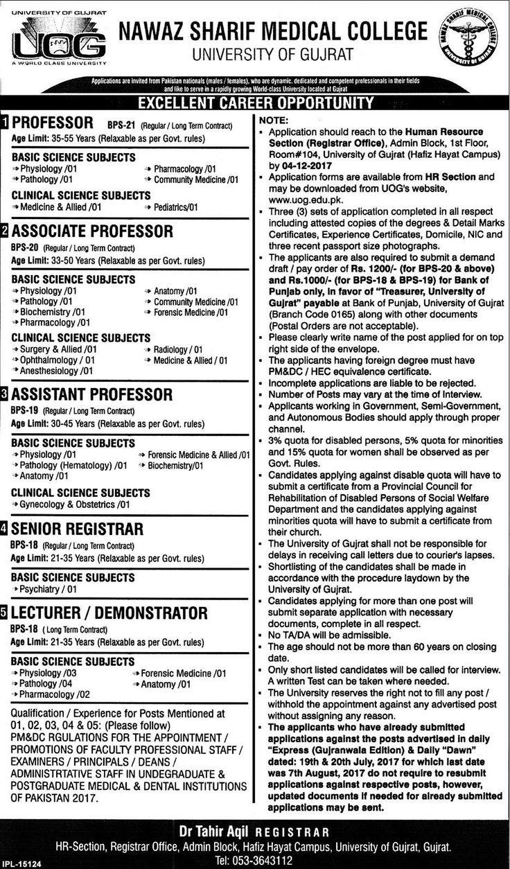 Nawaz Sharif Medical College Jobs 2017 In Gujrat For Professors And Registrar http://www.jobsfanda.com/nawaz-sharif-medical-college-jobs-2017-gujrat-professors-registrar/