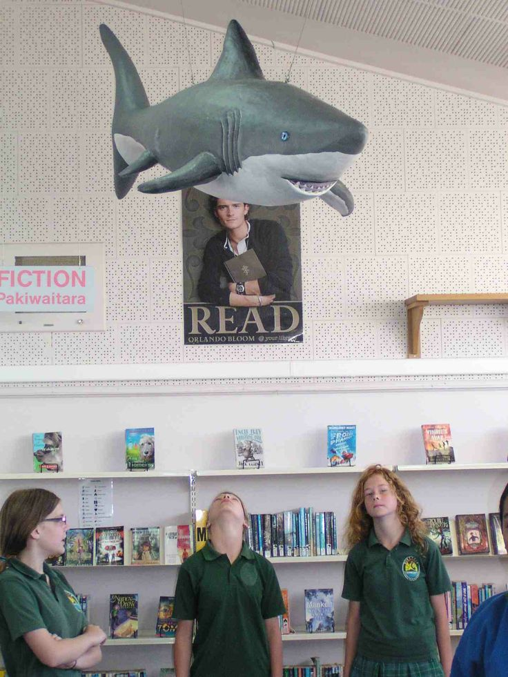 Part of a Jules Verne themed ceiling. Great White Shark made from plaster bandage over a blowup pool toy. Student construction. Birkdale Intermediate School www.bis.school.nz