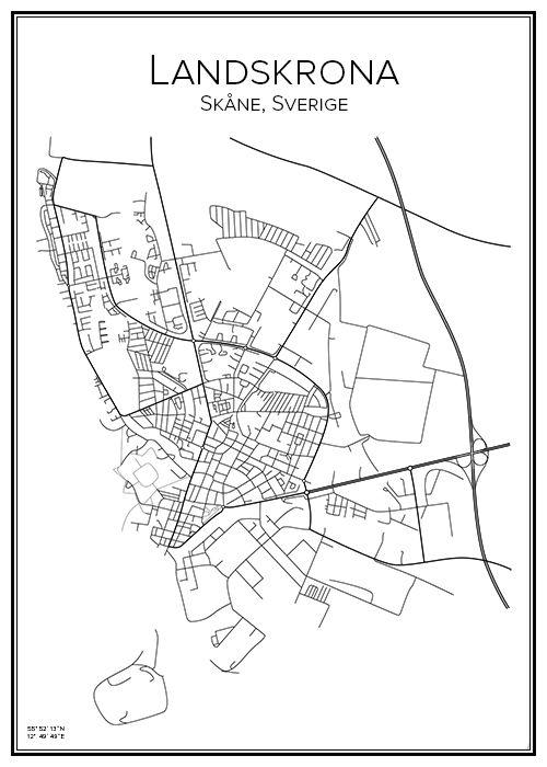 Landskrona. Skåne. Sweden. Map. City print. Print. Affisch. Tavla. Tryck.