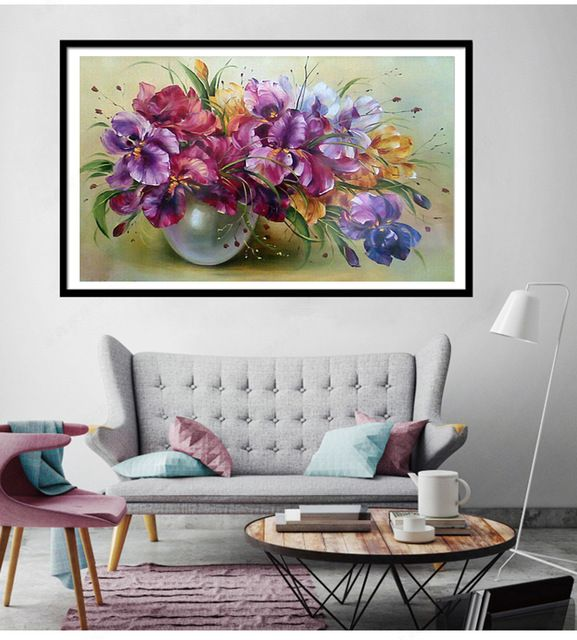 Discounted $5.39, Buy New Round Diamond Mosaic 5D Diy Diamond Painting Flower vase Pictures Cross Stitch Diamond Embroidery Crystal Home Decoration