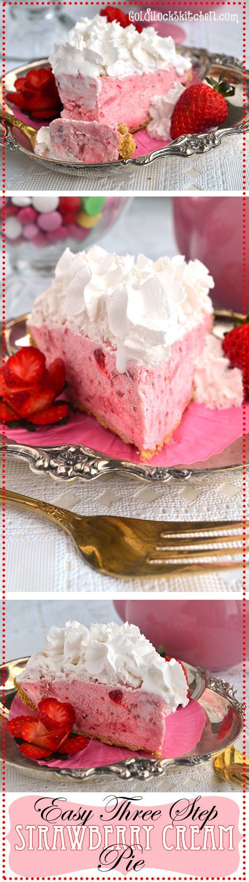 Sweet strawberries enveloped by billowy whipped cream create a dreamy pie that is a cinch to make. No bake, 3 simple steps! Perfect valentines day dessert :0)