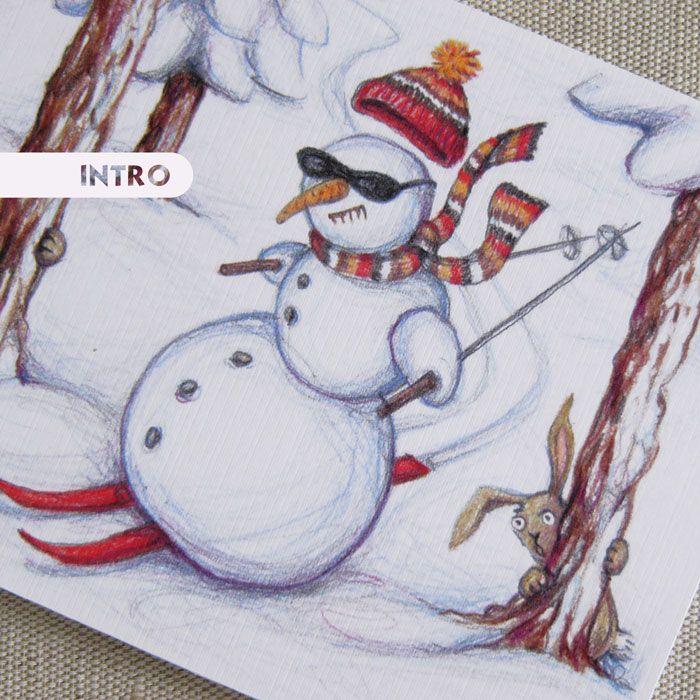 PŘÁNÍ+Sněhulákova+divoká+jízda+Autorská+kresba+pastelkami+v+podobě+vánočního+přání+smotivem+sněhuláka+jako+lyžaře.+Tištěno+digitálně+na+smetanový+grafický+papír+(efalin)+gramáže+250g,+sjemnou+strukturou.+Dodáváno+spolu+sobálkou.+Uvnitř+bez+textu.+Rozměry:+10,3+x+14,5+cm,+rozevíratelné+©+Jana+Marvánová