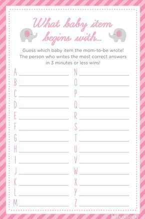 """This game might seem simple, but you'd be surprised how much fun """"What Baby Item Begins With"""" can be! Your girlfriends will come up with some of the craziest and funniest answers – you just wait! 