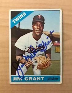 Vintage Jim Mudcat Grant Signed 1966 Topps Card #40 Minnesota Twins