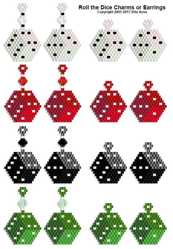 Roll the Dice Charms or Earrings | Bead-Patterns.com