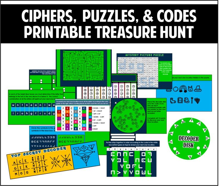 Ciphers, Puzzles, and Codes Treasure Hunt - Best part is that it is EDITABLE! 12 different clues - Comes in different color schemes.