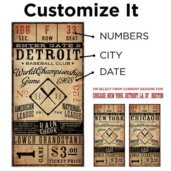 Vintage ticket - would be cute to make one for the Yankees and one for the Astros for Evan's room and frame them.