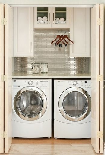 beautiful-closet-laundry-room-silver-tile @ Home Improvement Ideas