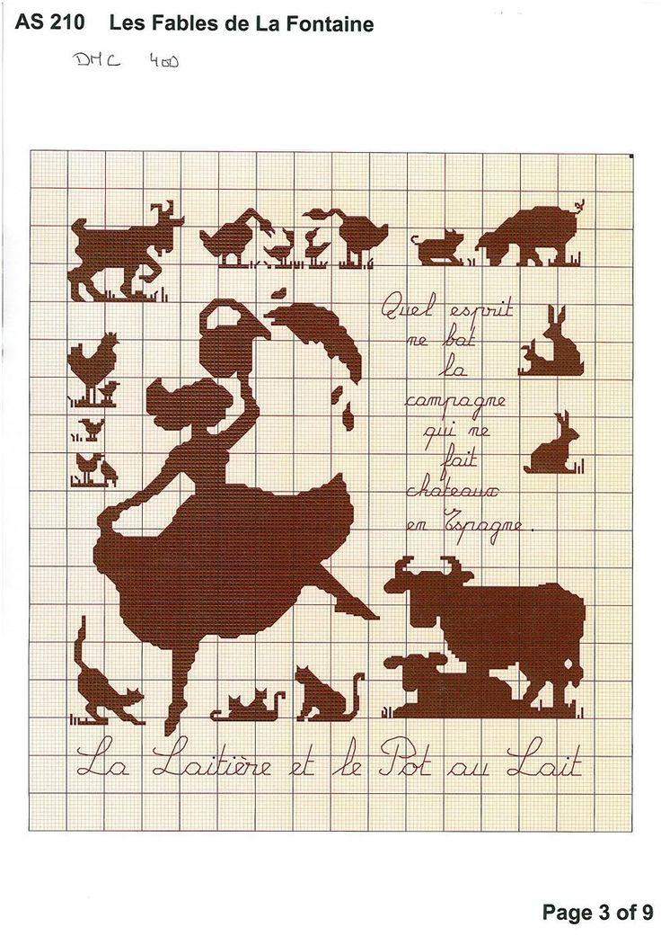 Point de croix *♥* Cross stitch t de croix femme et animaux de la ferme - cross stitch girl and farm animals