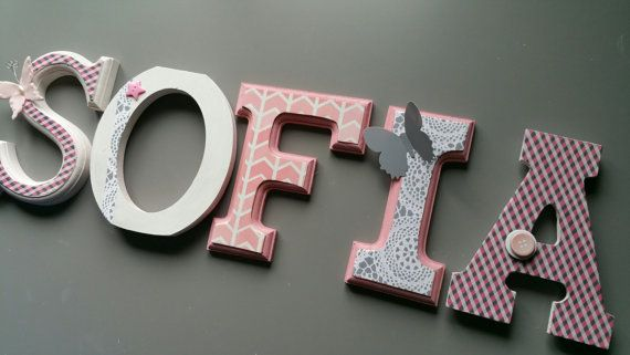 Custom wall letters Nursery letters Pink and Gray by MissiCreation