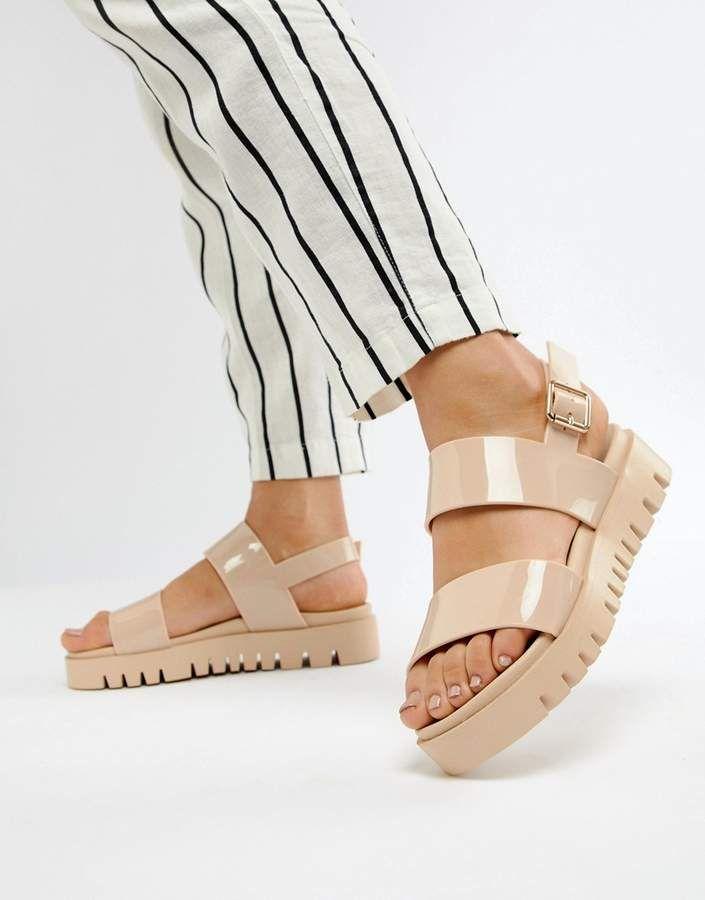 2e1f2da5723f ASOS DESIGN Fadey Chunky Jelly Flat Sandals