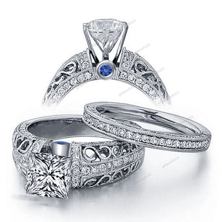 925 Sterling Silver D/VVS1 Diamond Women's / Ladies Engagement Wedding Ring Sets #giftjewelry22