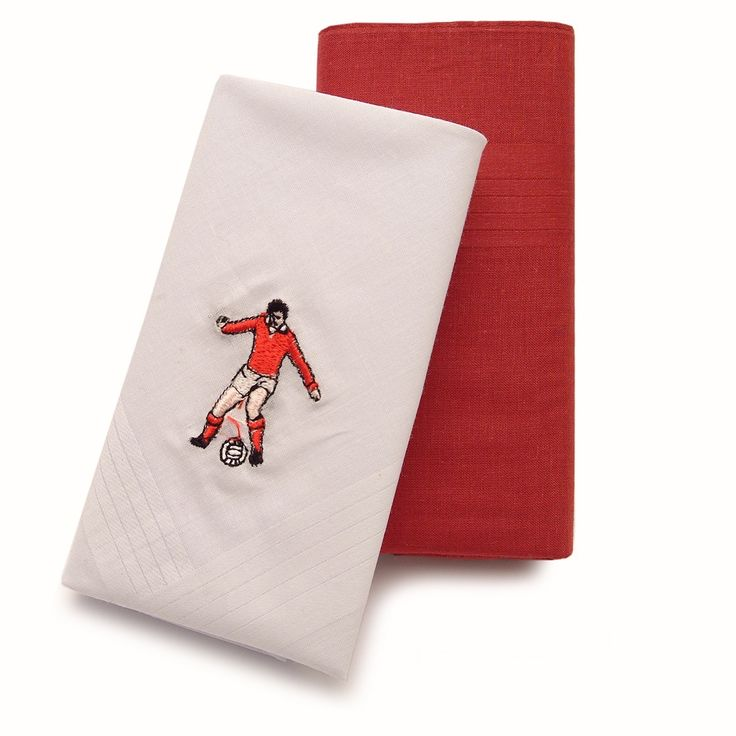 This pack of two 100% cotton handkerchiefs, one plain red and one white embroidered, comes perfectly presented to make these the ideal gift for any footie enthusiast on a cold day.