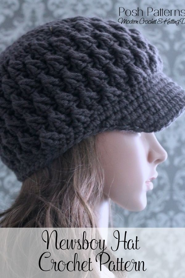 An elegant crochet newsboy hat pattern that features a pretty, textured stitch design. By Posh Patterns.