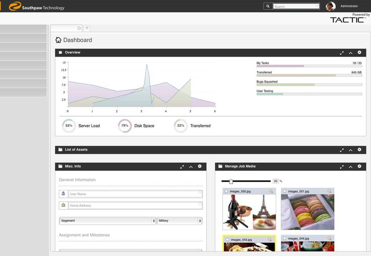 TACTIC Software version 4.3 - dashboards