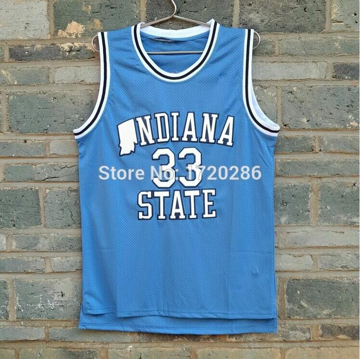 Cheap Sale Indiana State Sycamores Larry Bird #33 College Throwback Blue Road Basketball Jerseys 100% Embroidery Logos Perfect